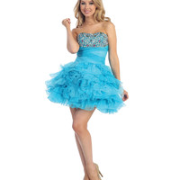 2013 Prom Dresses - Turquoise Chiffon & Beaded Strapless Short Prom Dress - Unique Vintage - Prom dresses, retro dresses, retro swimsuits.