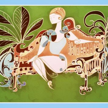 Art Nouveau Style  - Women  - Whimsical  - Women Decor - Hollywood Regency - Office Decor  - Vintage  - 1920's