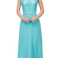 Tiffany Blue Cap Sleeved Beaded Long Formal Dress with Keyhole Back