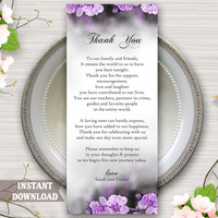 Printable Thank You Place Card, Wedding Thank You Card Template, Table Sign, Purple Floral Boho Thank You Card DIY Instant Download Editable