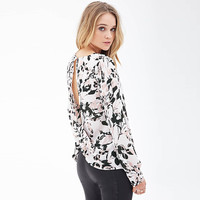 Black Ink Leaves Print Cutout Screwed Back  Slits Long Sleeves Top