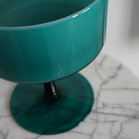 Classic Teal Mid-Century Glass Pedestal Dish-Modern-Minimalist-Centerpiece-Compote Dish-Candy Dish-Fruit Bowl