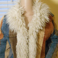 Vintage Hippie Faux Shaggy Sheep Fur Denim / Corduroy Coat
