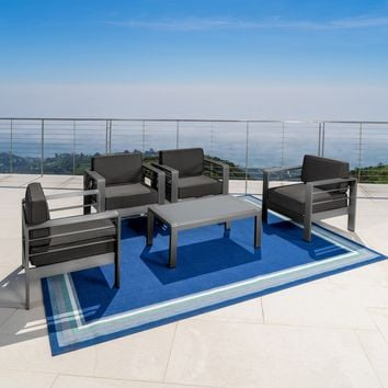 Crested Bay Outdoor Gray Aluminum 5 Piece Club Chair Chat Set