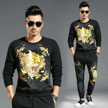 Winter Tracksuit Men Set Blazer Trousers Mens Suits Tiger Print Animal Pattern Casual Fitness Joggers Track Suit