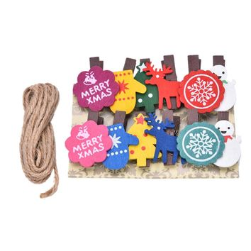 Christmas Decor Snowman Wooden Clip Photo Paper Craft DIY Clips with Hemp Rope 12pcs