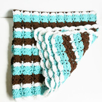 Crochet Baby Blanket, Blue and Brown, Striped Baby Afghan, Turquoise and White, Baby Boy Shower Gift, Handmade Knitted Blanket