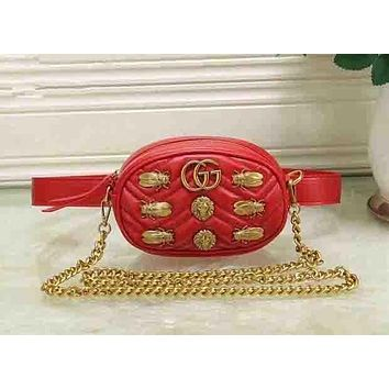 Gucci Black Waist Bag With Shoulder Bag Fasion Small Bag Lion head-Cute Cicada bag Red