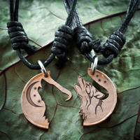Howling Tribal Wolf with Moon copper coin necklaces by Namecoins