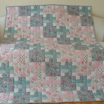 Shabby Chic Rose Abbey Large Lap Quilt, Handmade Quilt, Throw 52 x 72 inches Free Shipping Canada and USA