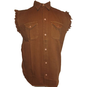 Mens Motorcycle Biker Shirt Chocolate Cut Off Sleeveless Cotton Denim Button up Limited Edition