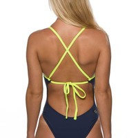 Dayno 2 Tie-Back Onesuit - Navy/Highlighter Yellow