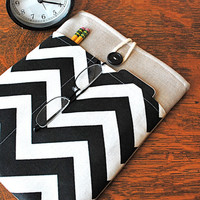 13 inch laptop Macbook  Mac book Air / Pro Cover Padded Case Sleeve - Linen with Black White Chevron Fabric Pocket