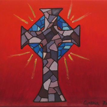 Cross painting on canvas, stained glass mosaic, purple blue red, original painting, varnished, 11x14