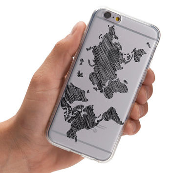 Sketchy World Map - Doodle World Map - Wanderlust - Travel - Super Slim - Printed Case for iPhone - S001
