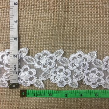 "3"" White Bridal Rose Lace Trim on Organza with Sequins, Lot of 2 Yards"