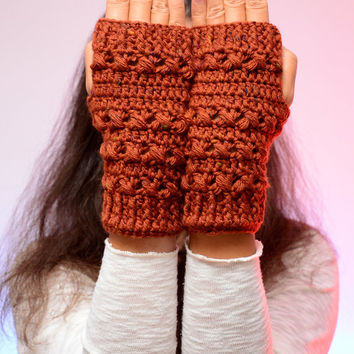 Brick red winter mittens, fingerless gloves, wrist warmers, soft fingerless mitts, fashion mittens, autumn wool mittens. Christmas gift.