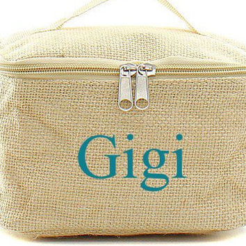Burlap Monogrammed Cosmetic Bag  Bridesmaid Gift Idea Cosmetic Bag  Monogrammed Makeup Bag