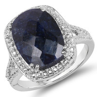 6.90 Carat Genuine Sapphire .925 Sterling Silver Ring