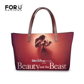 FORUDESIGNS High Quality Women Handbag Casual Large Capacity Bag Fashion Beauty and the beast Female Totes Bolsas Shoulder Bag