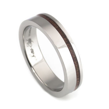 Wood stripe titanium wedding band-women