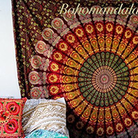 Maroon Yellow Queen Celestial Circles Indian Mandala Bedspread Tapestry Wall Hanging Marun Hippie Bohemian Ethnic Beach Throw Wall Art