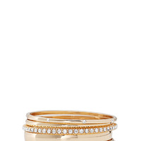 Textured & Rhinestoned Bangle Set