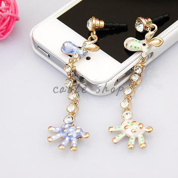 Giraffe Design Korea style 3.5mm Colorful Cute Animal  Mobile Phone Ear Cap Dust Plug For Iphone For Samsung Dust Plug