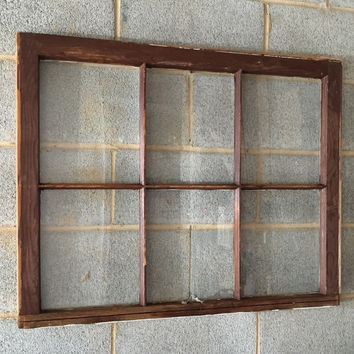 Vintage 6 Pane Window Frame - Brown, 36 x 27, Rustic, Wedding, Beach, Home, Decor, Photos, Pictures, Business, Holiday Decor, Farmhouse