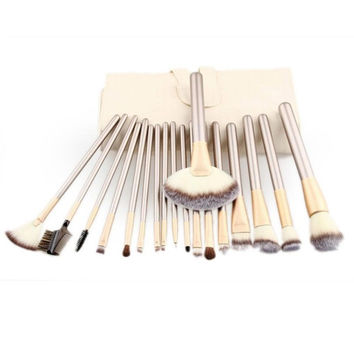 18pcs Makeup Brushes set Fondation Eyeshadow Cosmetic Tool with Leather pincel de base Anne