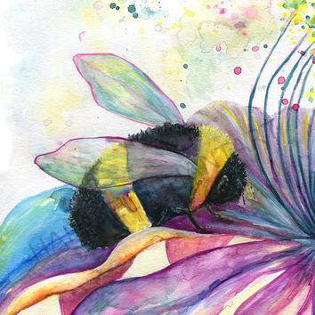 Bumble Bee art for home decor, Watercolor bumble bee wall art print