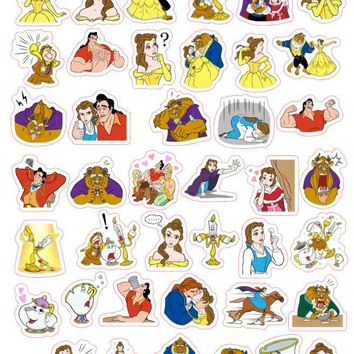 Free shipping 40pcs/lot Beauty and the Beast Stationery Scrapbooking Stickers 3D Noctilucent sticker note Decoration label