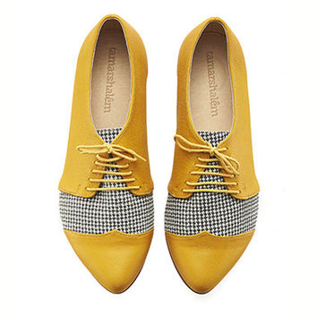 Yellow, Pepita, oxford shoes, Polly Jean, handmade, flats, leather shoes, by Tamar Shalem on etsy