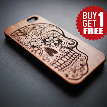 Rose Wood & PVC Skull iPhone 6 6 plus Case - Real Wood iPhone 6 Case - Wooden iPhone 6 Case - Natural Wood iPhone 6 Plus Case - Best Gift