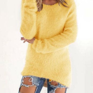 Yellow Round Neck Long Sleeves Sweater Top