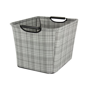 Household Essentials Medium Tapered Storage Bin With Wood Handles