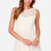 Moment of Cute Embroidered Cream Dress