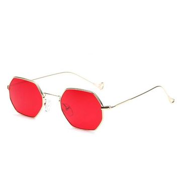 Fashion Women Sunglasses Small frame polygon Clear lens Sunglasses Brand Designer Men vintage Sun Glasses Hexagon Metal Frame