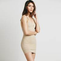 Nude Bodycon Spaghetti Strap V-neck Mini Dress