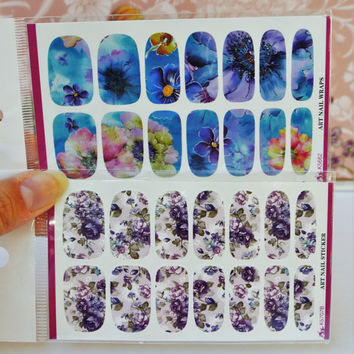 2 Packs of Floral nail wrap, Purple Flowers Nail Art, Blue Flowers Nail Design, Floral Nails, Nail Decoration, water decals, Roses, Nails