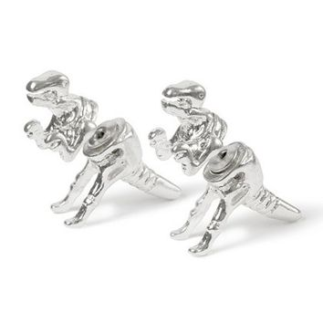 Shiny Silver Dinosaur Front and Back Stud Earrings – Claire's