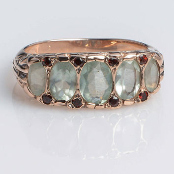 Aquamarine Gold Five-Stone Art Deco Ring with Garnet set in 14K Rose Gold Vintage style