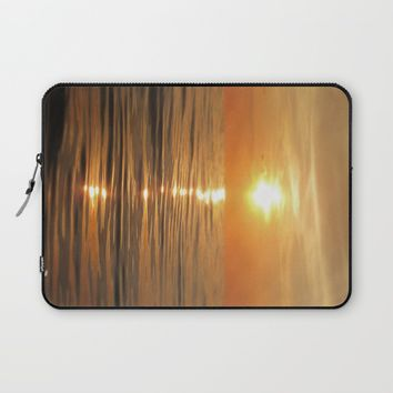 Sun setting over calm waters Laptop Sleeve by Nicklas Gustafsson