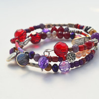 Red Purple bracelet gift set, silver charm, memory wire jewelry, beaded, gifts for her, Love believe joy charms, burgundy, colorful handmade