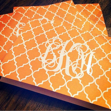 Monogrammed Quatrefoil Note Cards - Thank You Cards, Wedding Invitations, Birthday Invitations