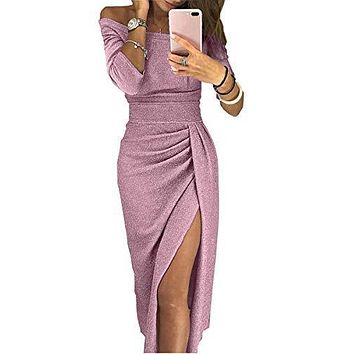 Women Shiny Off Shoulder Ruched Thigh Slit Knitted Party Dress Wedding Cocktail, Pink L