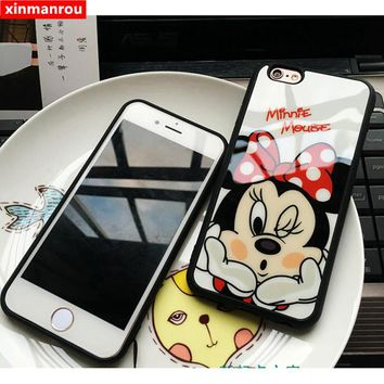 Cute Minnie Mickey Acrylic mirror Case for iPhone 6  Cases 6 6s Plus Cover for iphone 7 Case for iPhone 7 plus cases