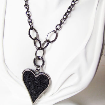Black Heart Jewelry Necklace Heart Necklace Metal Black Heart Large Love Heart Pendant Valentines Necklace Valentines Day Romance Gift Cute