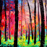 Landscape painting trees oil mixed media on canvas by Aja 20x24 inches Kindle