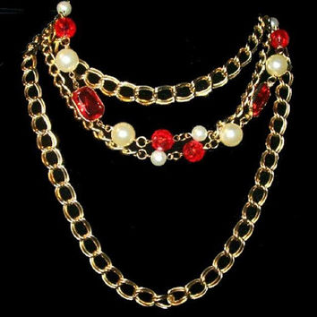 """Red Gold Chain Necklace Glass Stones & White Pearl Beads 32"""" Vintage Holidays"""